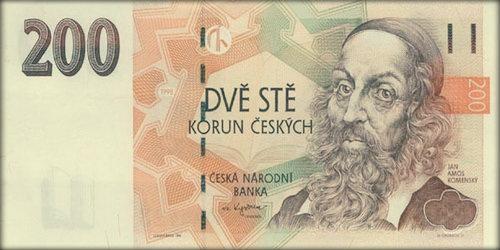 Ян Амос Коменский на купюре номиналом в 200 крон.