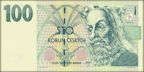 Карл IV на купюре номиналов в 100 крон.