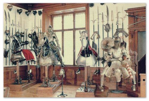 Коллекция рыцарских доспехов.