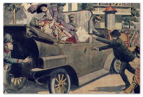 Сараево. Убийство эрцгерцог Франца Фердинанда сербскими террористами.