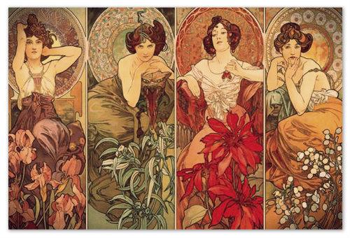 Alfons Mucha — Драгоценные камни: Аметист, Изумруд, Рубин, Топаз.