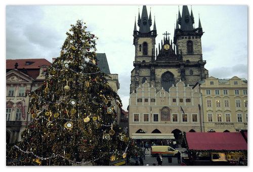 Главная ёлка в Праге на Староместской площади.