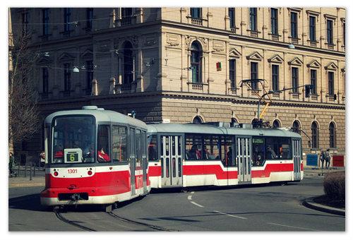 Трамвай №6 в Брно в марте.