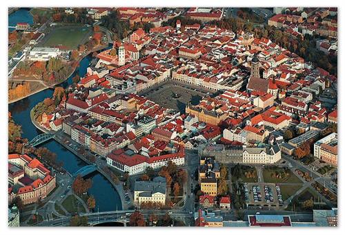 Особенно красив České Budějovice, если смотреть на него с неба на закате.
