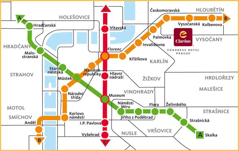 Карта пражского метрополитена.