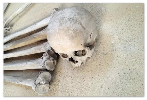 Кости на стенах.