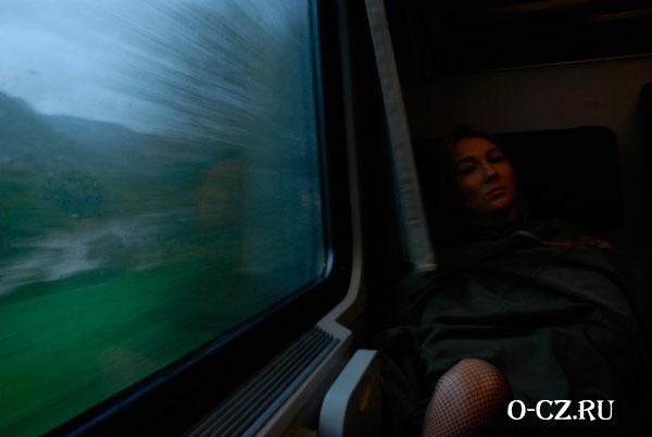 Девушка в поезде.